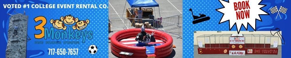 3 monkey inflatables Back to College Events
