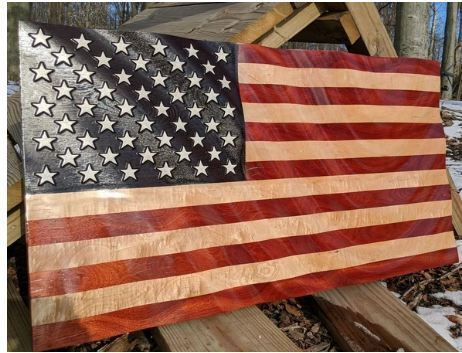 Rush Woodworks Uses Hardwood Grains to Craft Wooden Flags
